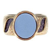 Amazing Victorian Memorial Ring Sardonyx Hair 15k Gold