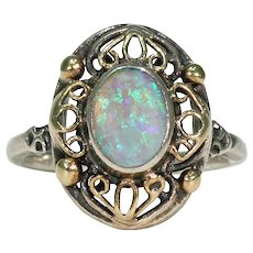 Antique Arts and Crafts Opal Silver Ring Gold Accents
