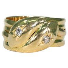 Edwardian Large Double Snake Ring Men's Diamond