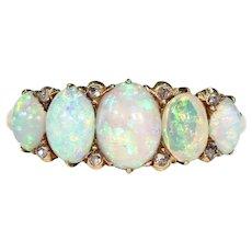 Victorian 5 Stone Opal Diamond Ring Half Hoop