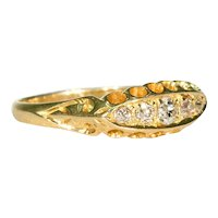 Victorian 5 Stone Diamond Ring 18k Gold