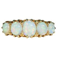 Edwardian 5 Stone Opal Ring in 18k Glowing Stones