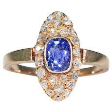 Victorian Navette Sapphire Diamond Cluster Ring