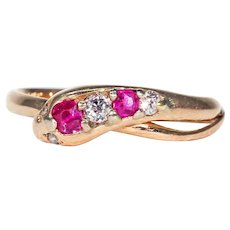 Stunning Snake Ring Ruby Diamond 15k Gold