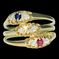 Victorian Ruby Sapphire Diamond Stacked Ring 18k Gold