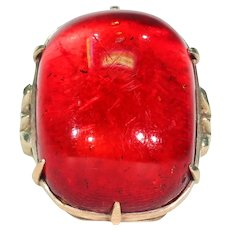 Vintage Large Sugarloaf Cherry Amber Ring Gold
