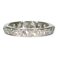 2.1cttw Old European Cut Diamond Eternity Band Ring Size 8 Platinum