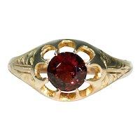 Antique Edwardian Garnet Solitaire Ring 9k Gold