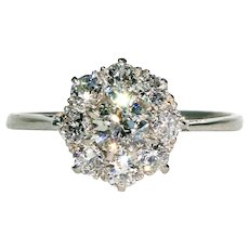 Edwardian Old Cut Diamond Cluster Ring Platinum Engagement