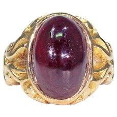 Victorian Cabochon Garnet Ring Carved Shoulders 15k Gold