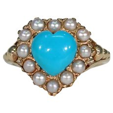 Vintage Turquoise Pearl Heart Cluster Ring English 1960