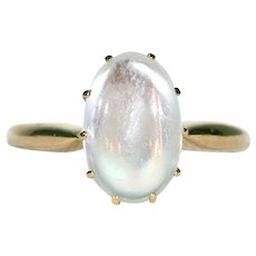 Edwardian Moonstone Solitaire Ring in 18k Gold