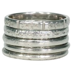 5 Art Deco Platinum Band Ring Stack Sz 7.5