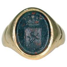Victorian Intaglio Bloodstone Signet Ring 18k Gold