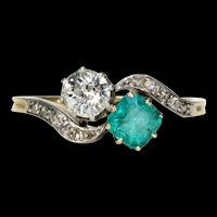 Edwardian Diamond Emerald Bypass Ring 18k Gold Platinum Engagement