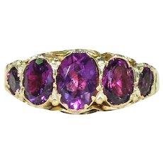 Edwardian 5 Stone Amethyst Ring 9k Gold
