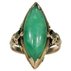 Edwardian Era Jade Ring Marquis 14k Gold