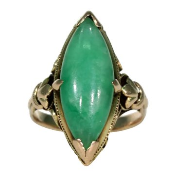 Edwardian Era Jade Ring Marquis 14k Gold