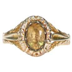 Early Victorian Citrine Gold Ring Foil Backed