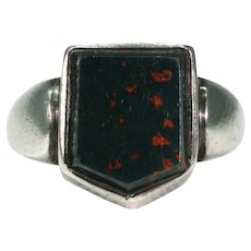Antique Victorian Men's Bloodstone Silver Signet Ring Dated 1882