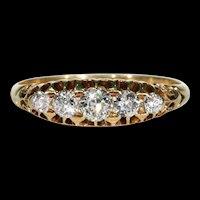 Edwardian 5 Stone Diamond Ring 18k Gold Hallmarked 1901
