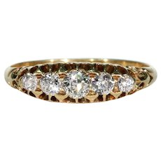 Edwardian 5 Stone Diamond Ring 18k Gold Hallmarked 1901