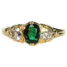 Late Victorian Diamonds Tsavorite Garnet Ring