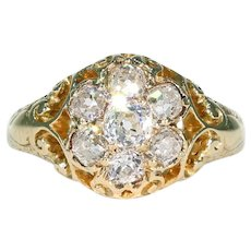 Victorian Diamond Cluster Engagement Ring Halo