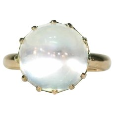 High Domed Antique Edwardian Moonstone Solitaire Ring 18k Gold