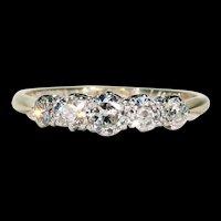 Art Deco 5 Diamond Ring 18k Gold Platinum