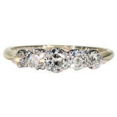 Art Deco 5 Diamond Ring 18k Gold Platinum