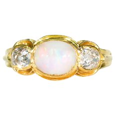 Fabulous 18k Gold Diamond Opal Ring Edwardian Antique