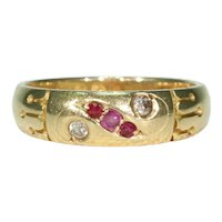Antique Ruby Diamond Ring 18k Gold Hallmarked 1898