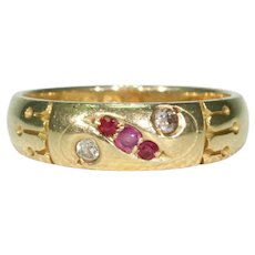 Antique Ruby Diamond Ring 18k Gold Hallmarked 1898