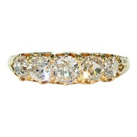 Victorian 5 Stone Diamond Ring in 18k Gold