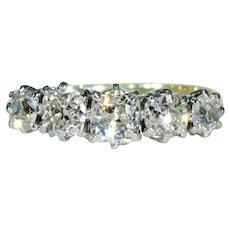 Antique Edwardian 5 Diamond Ring Old European Cushion Cut Engagement