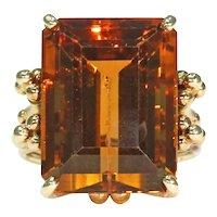 Vintage Retro Citrine Ring 18k Gold