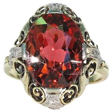Vintage Art Deco Tourmaline Diamond Ring 14k Gold Red