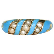 Victorian Blue Enamel Pearl Ring 15k Gold