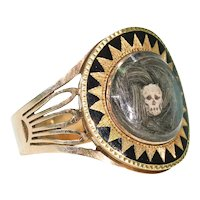 Georgian Memento Mori Ring Skull Hair Memorial Black Enamel
