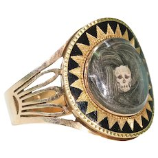 Georgian Memento Mori Ring Skull Hair Memorial Black Enamel