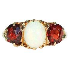 Victorian Garnet Opal Ring 18k Gold