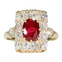 Antique French Diamond Natural Ruby Ring 18 Karat Yellow Gold