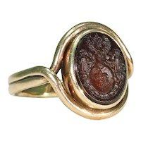 Victorian Era Tassie Seal Ring 14k Gold Intaglio Signet
