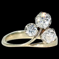 Antique French Trefoil 3 Diamond Ring 18k White Gold