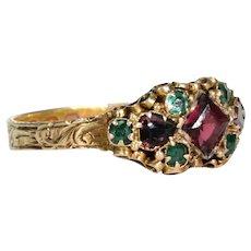Victorian Garnet Emerald Gold Ring Hallmarked 1871
