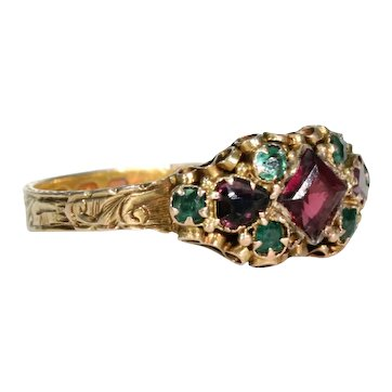 Victorian Garnet Emerald Gold Ring Hallmarked 1871