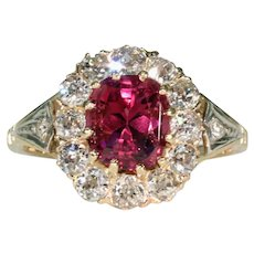 Antique Russian Red Spinel Diamond Cluster Ring 14k Gold