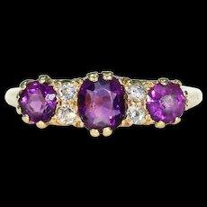 Edwardian Amethyst Diamond Ring 18k Gold