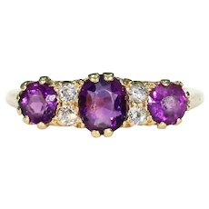 Edwardian Amethyst Diamond Ring 18k Gold